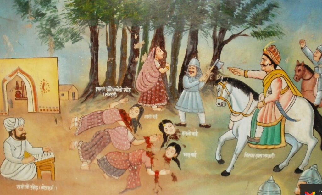 A Khejarli-i mészárlás festménye egy helyi templom belsejében a Chipko mozgalom fekete napja